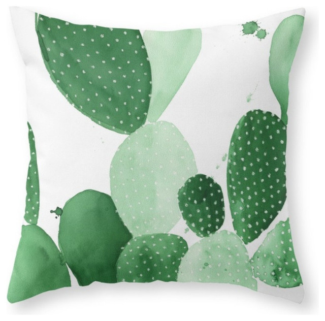 Southwestern Throw Pillow Covers : Society6 Green Paddle Cactus II Throw Pillow - Decorative Pillows Houzz