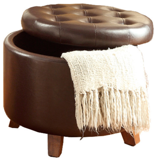 Accent Cute Organizer Round Storage Ottoman Faux Leather