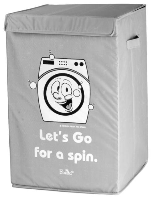 """""""let&x27;s Go For A Spin"""" Bonita Neu Happy Laundry Basket, Gray."""