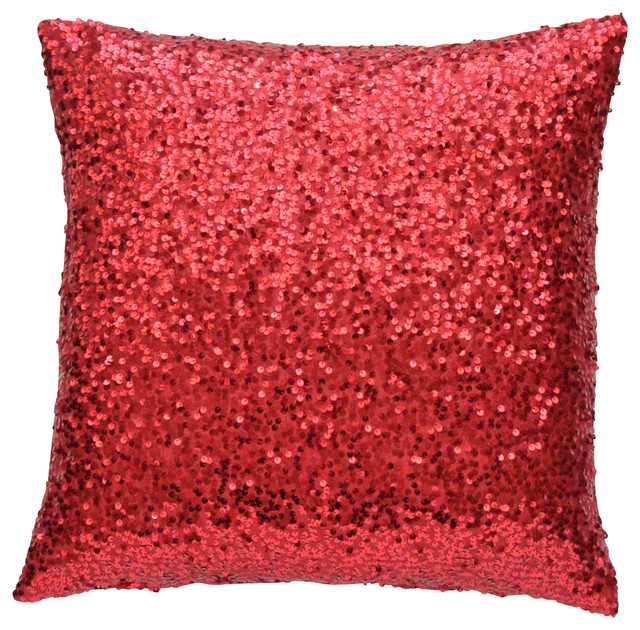 Red Sequin Lumbar Pillow Cover Contemporary Decorative Pillows Gorgeous Sparkly Decorative Pillows