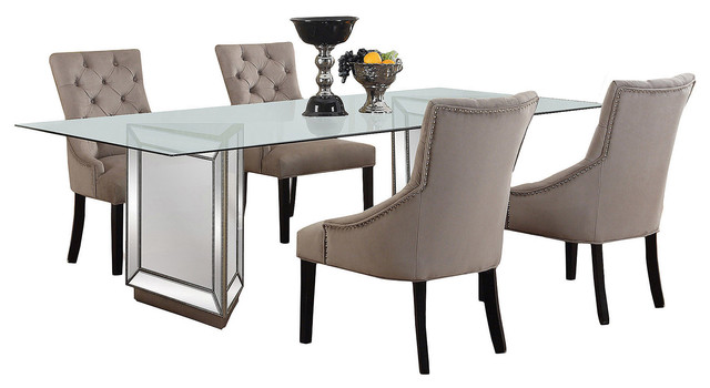 Nicolette Silver Mirrored Dining Room 5Piece Set Contemporary