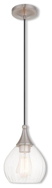 Art Glass Pendant, Brushed Nickel.