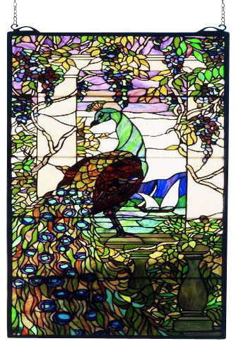 "19""Wx40""H Tiffany Peacock Wisteria Stained Glass Window"