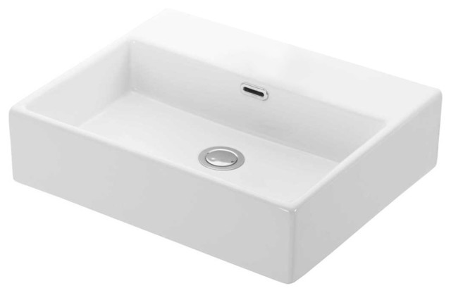 Quattro Ceramic Wall Mounted Countertop Bathroom Sink No Faucet Hole