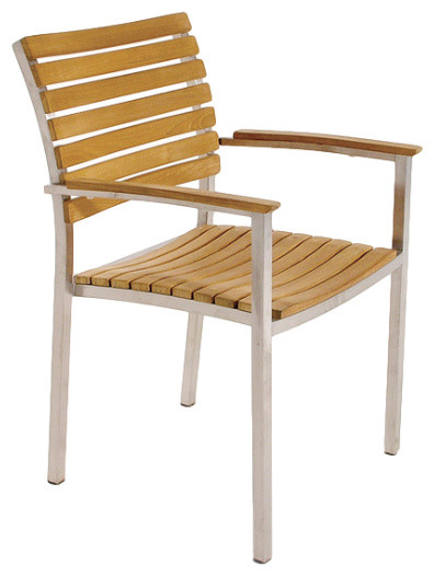 Vogue Stacking Armchair Modern Outdoor Dining Chairs by Westminster Teak