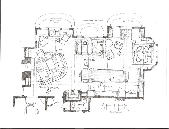 Kitchen / Great Room Bucks County transitional-floor-plan