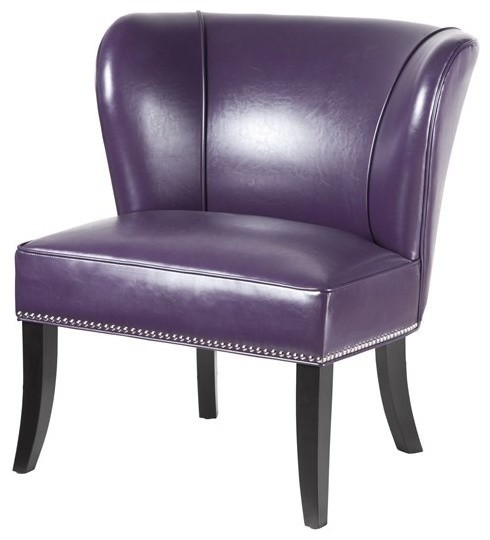 Hilton Armless Accent Chair, Purple by Madison Park Signature