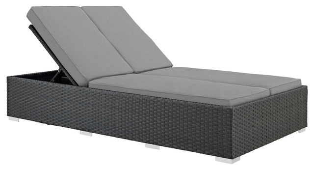 Sojourn Outdoor Patio Sunbrella Double Chaise Chocolate Gray.