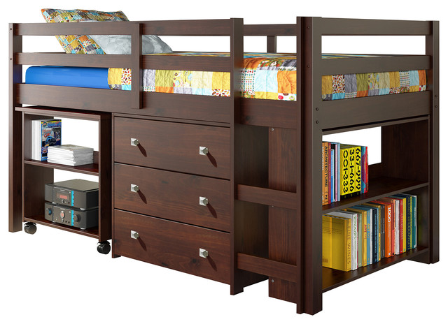 Whitney Bunk Bed And Study Desk, Twin, Cappuccino.