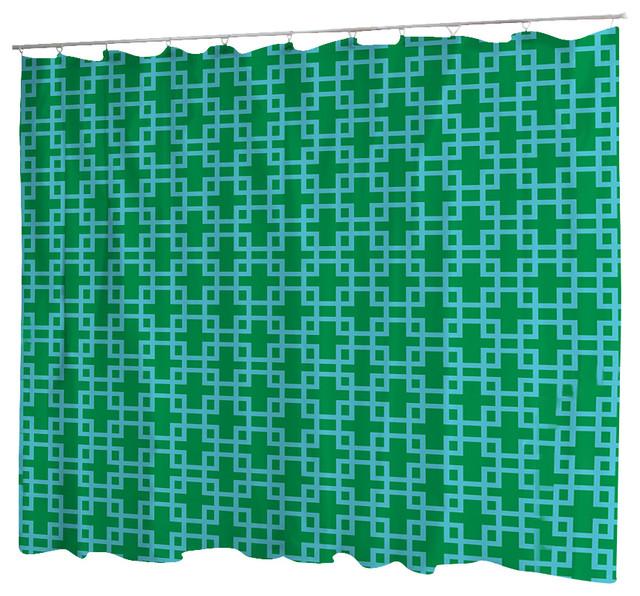 Uneekee Rodeo Green Quatrefoil Shower Curtain