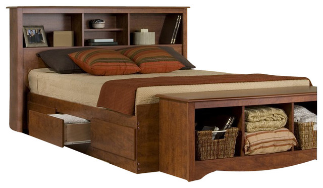 Monterey Platform Storage Bed  Cherry  Queen transitional platform beds. Prepac Monterey Platform Storage Bed   Transitional   Platform