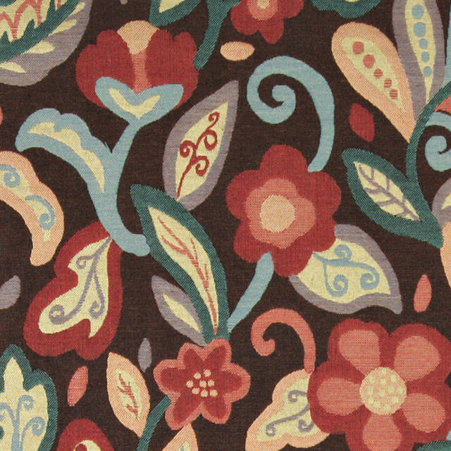 Teal Blue Orange Red Brown Floral Contemporary Upholstery Fabric ...