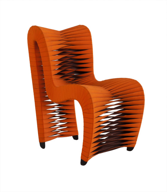 Seat Belt Dining Chair, Orange Contemporary Dining Chairs