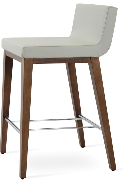 Walnut Color Solid Beech Dallas Wood Counter Stool