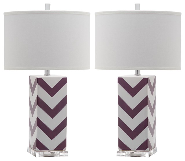 "Safavieh Chevron 27"" High Stripe Table Lamp, Purple."
