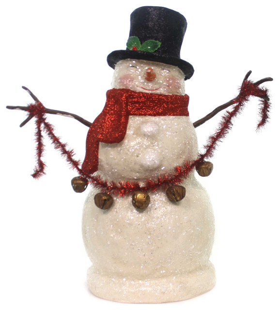 Christmas Smiley Snowman Paper Paper Mache Tinsel Glitter Tj7772 Holiday Accents And Figurines By Story Book Kids Inc