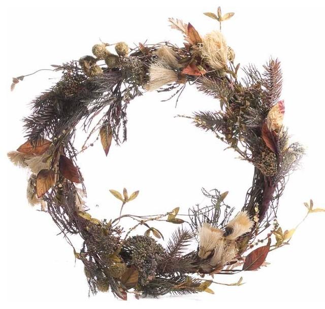 Dried Grass And Leaf Wreath.