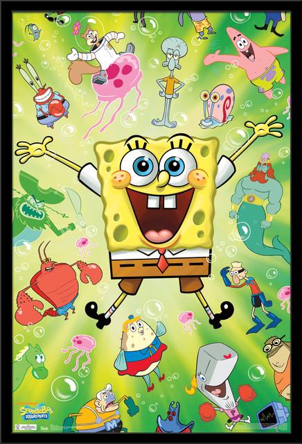 SpongeBob Burst Poster, Black Framed Version