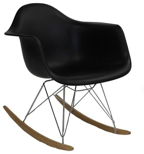 RAR Mid Century Modern Rocking Chair With Steel Eiffel Legs   Midcentury   Rocking  Chairs   By EModern Decor