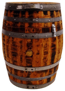 Wine Barrel Trash Can, 30 Gal - Rustic - Outdoor Trash Cans - by Eco Wine Furniture