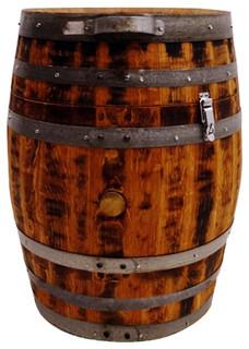 Wine Barrel Trash Can 30 Gal Rustic Outdoor Trash