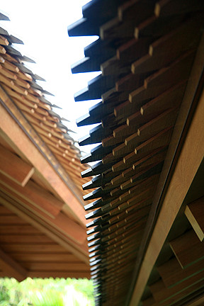 Teak shingle detail for Koi pool cue