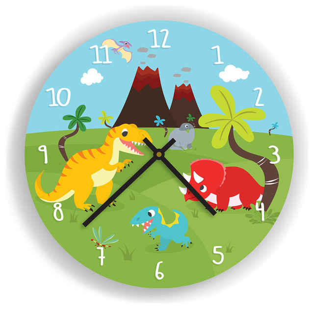 dinosaurs and volcano wall clock for kids room contemporary kids rh houzz com School Room Clocks Living Room Wood Pendulum Clocks