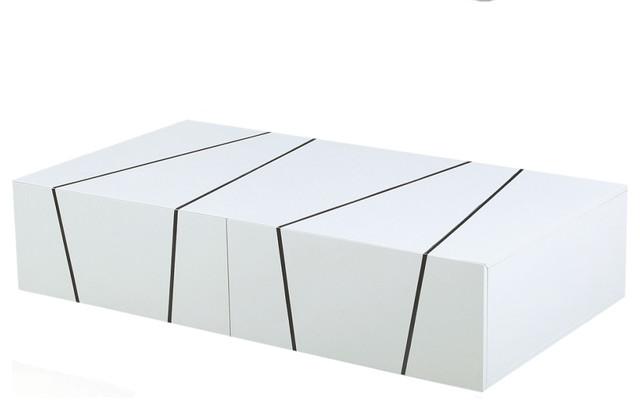 jaxon modern coffee table, white lacquer - modern - coffee tables