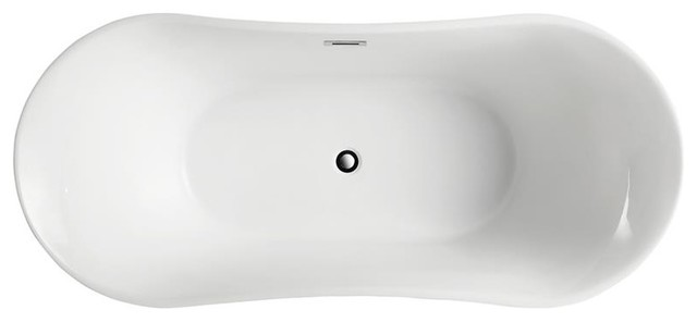 Bergamo 67 Freestanding Bathtub, Glossy White by Bellaterra Home