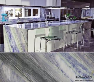 Kitchen Waterfall Island Countertop Azul Imperial Granite