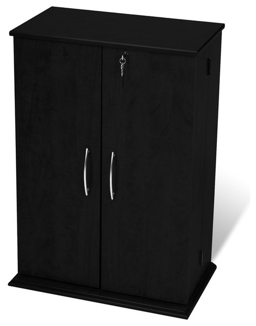 Prepac Locking CD DVD Media Storage Cabinet - Transitional ...