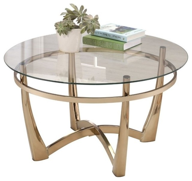 ACME Orlando II Round Glass Top Coffee Table, Champagne
