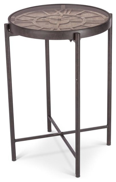 Metal And Wooden Table W/Clock   Industrial   Side Tables And End Tables    By The Porch Swing Store