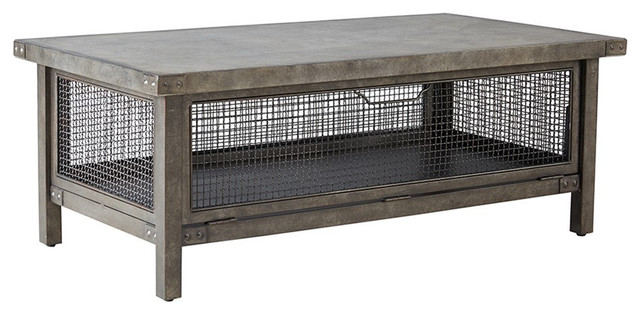 Metal Wire Mesh Coffee Table With Concrete Top Industrial Coffee Tables