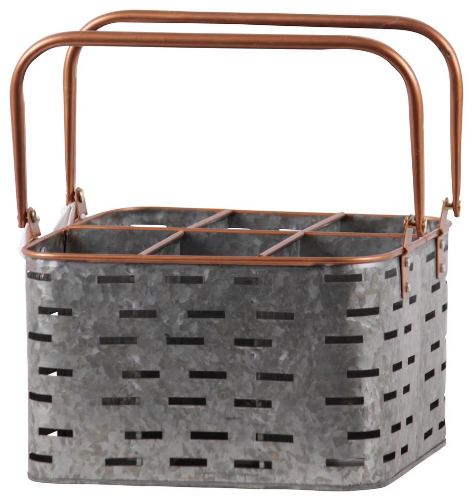 Rustic Farmhouse Galvanized Metal Basket with Compartments NEW Urban Farmhouse