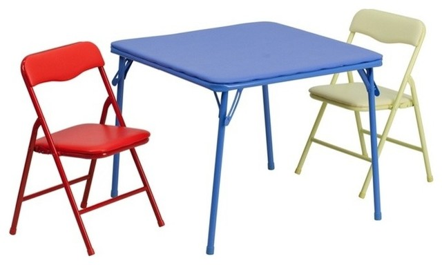 Beau Kids Colorful 3 Piece Folding Table And Chair Set