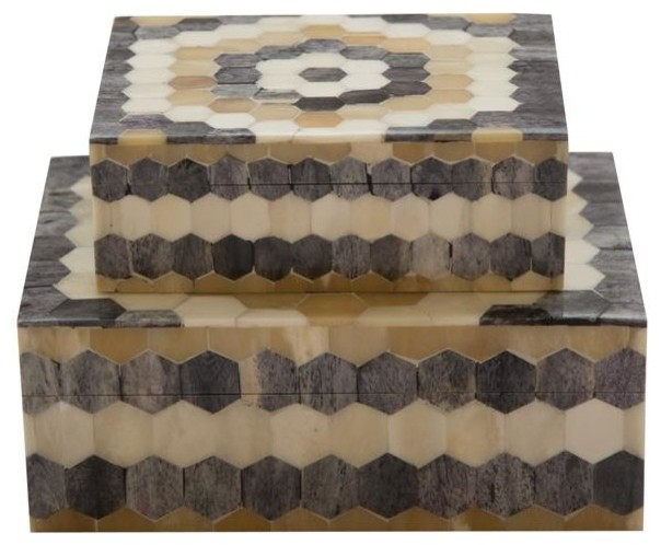 Set of 2 Hexagon Pattern Storage Boxes