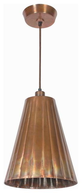 Flute 1-Light Pendant In Flamed Copper.