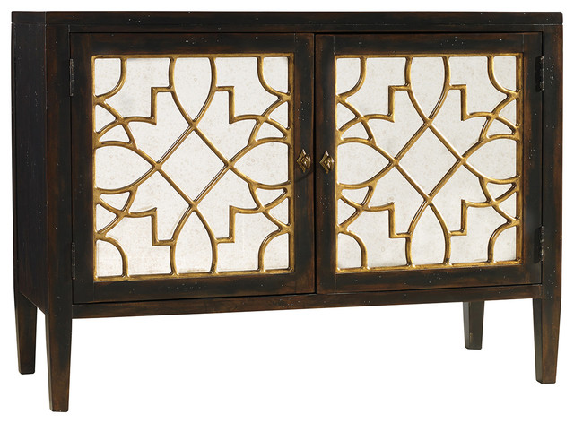 Sanctuary Two Door Mirrored Console- Ebony transitional-console-tables