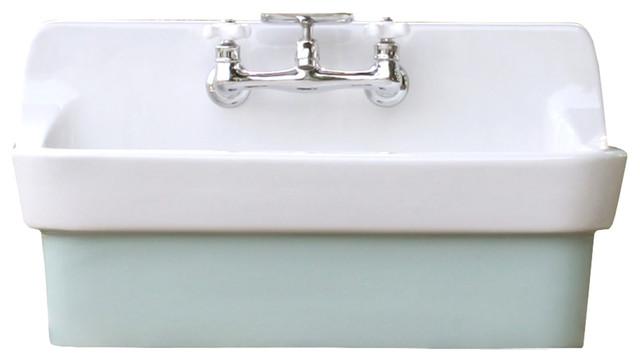 Arsenic Green Vintage Style High Back Farm Sink Original Porcelain Finish Apron Kitchen Utility Sink