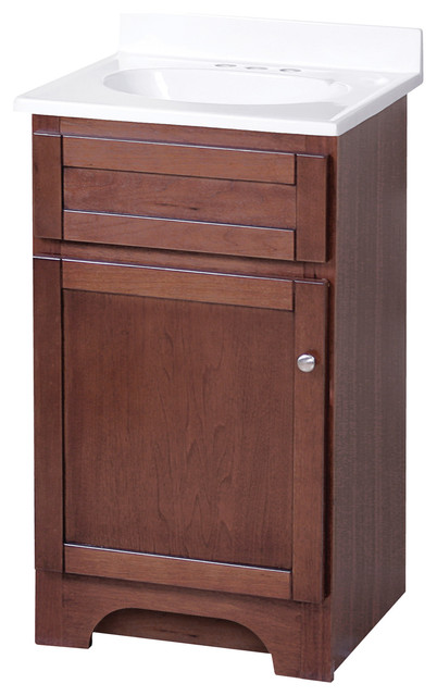 """Columbia Cherry Bathroom Vanity With Cultured Marble Top, 19"""""""