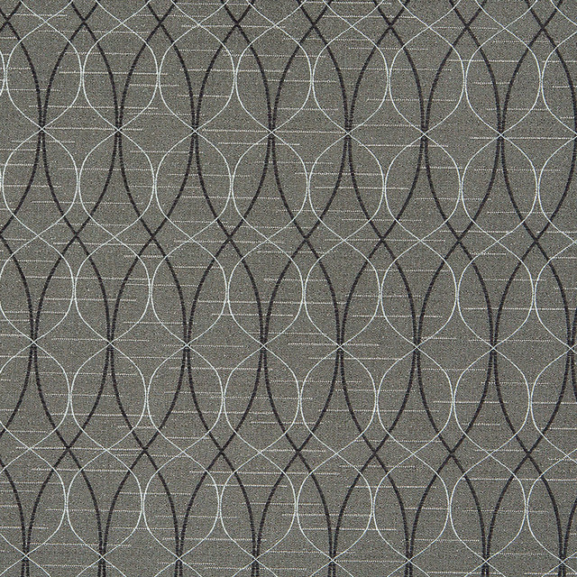 Grey Black And Silver Contemporary Ovals Upholstery Fabric By The Yard
