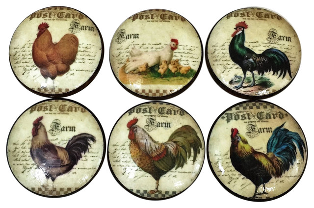 6-Piece Set French Country Chicken Rooster Cabinet Knobs