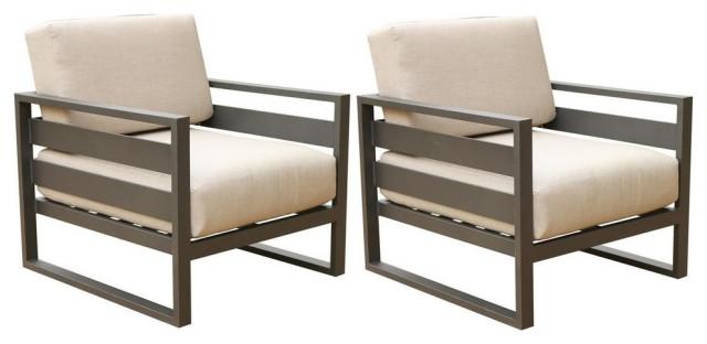 Parmer Aluminum Patio Club Chair With Cushion,Set of 2, Cast Silver Sunbrella