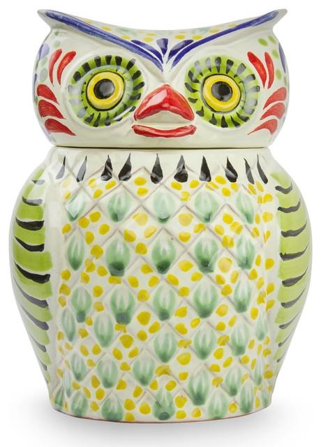 Owl Treats Majolica Ceramic Cookie Jar