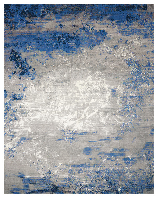 Nourison Twilight Blue and Grey Rug, 236x297 Cm