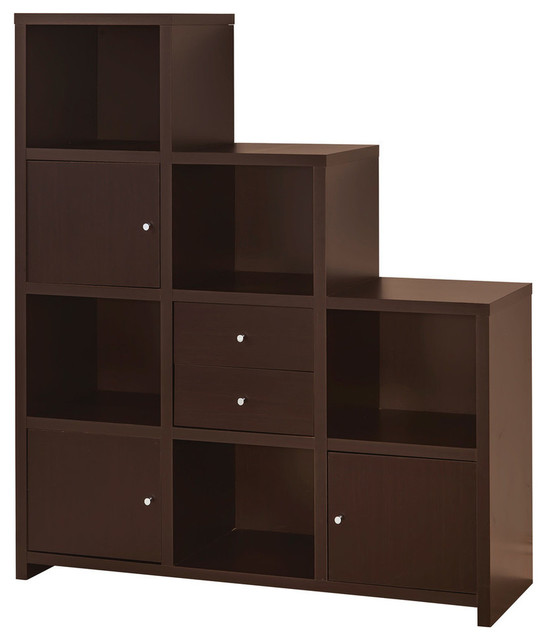 Asymmetrical Bookshelf With Cube Storage Compartments.