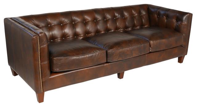 Aristocrat Leather Sofa, Cigar Brown Transitional Sofas