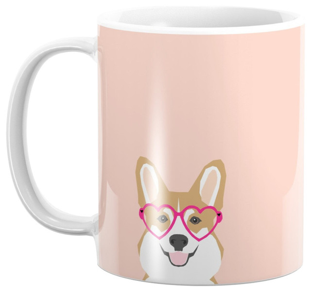 Society6 Corgi Love Valentines Heart Shaped Glasses On