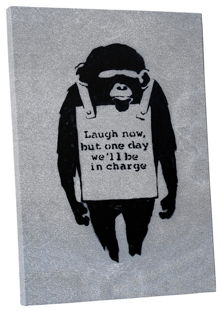 """Banksy 24/""""x36 Canvas Art Print Laugh now but Someday"""